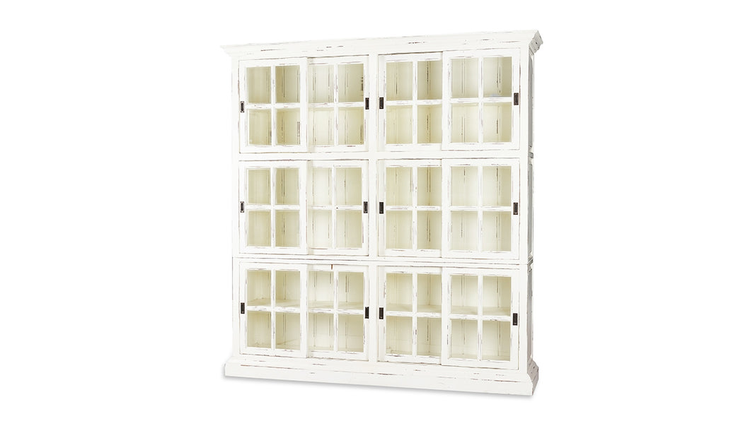 English Bookcase 2 Column - White Distressed