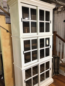 Three Level Bookcase - White with Glass Doors