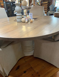 "72"" Round Oak Dining Table"
