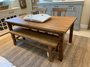 "72"" Chestnut Dining Table with Straight Leg Base"