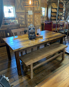 "72"" White Pine Dining Table with Straight Leg Base"