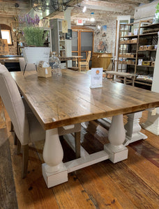"84"" White Pine Dining Table with White Double Pedestal Base"