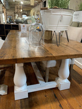 "Load image into Gallery viewer, 84"" White Pine Dining Table with White Double Pedestal Base"