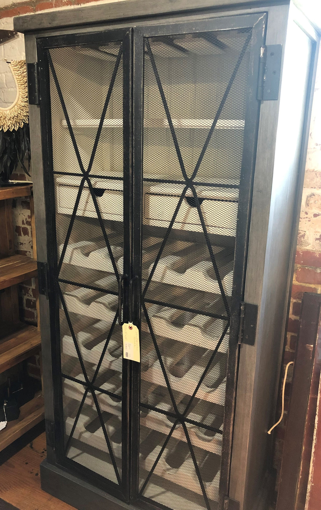 Wire Wine Cabinet - Distressed