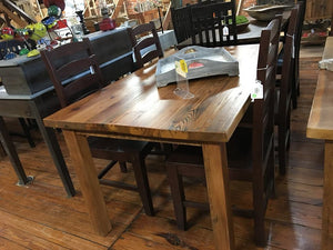 "60"" x 36"" Bethany Table made of reclaimed heart pine with a natural finish."