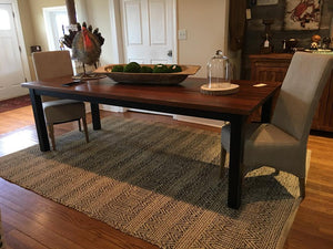 "84"" x 40"" Bethany table made of reclaimed white pine with a walnut stain and black base"