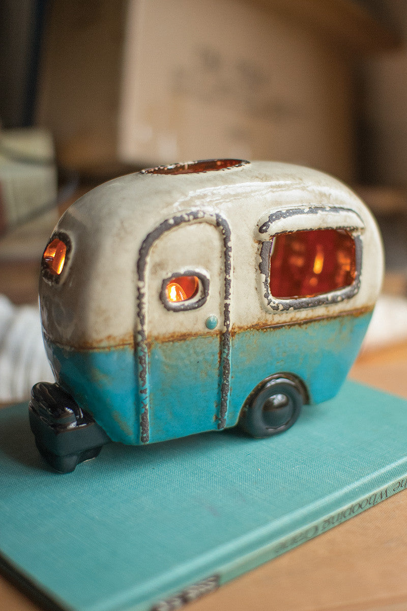 Ceramic Blue/White Camper Lamp