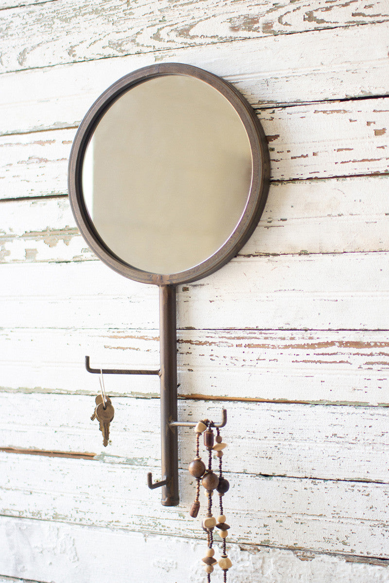 Round Wall Mirror with Rotating Coat Hooks