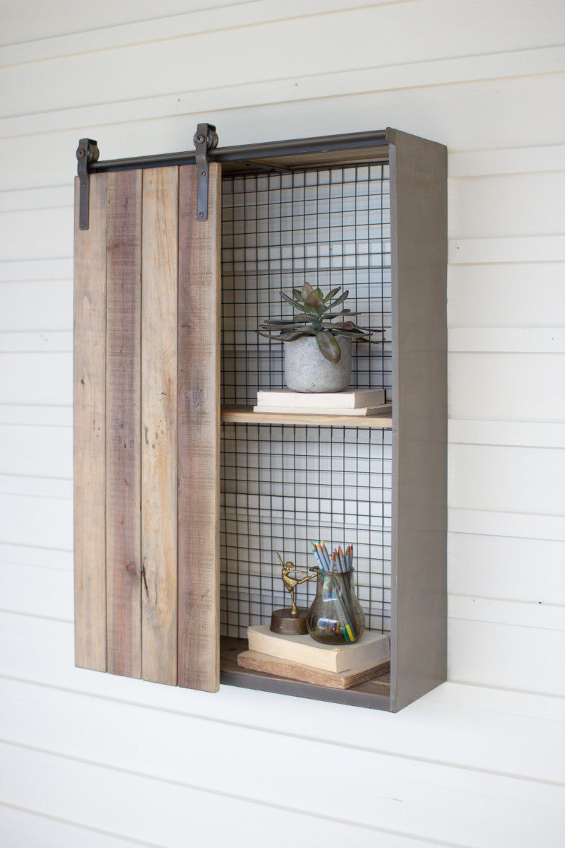 Tall Wood and Metal Wall Shelf with Rolling Door