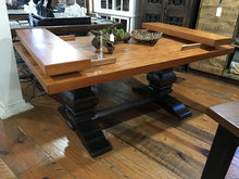 "Load image into Gallery viewer, 72"" x 38"" Dewey Table made of heart pine with a natural finish on tabletop and walnut stain on base. Please note that the extensions shown are not included in this listing."