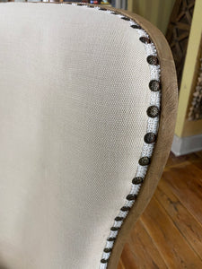 Large Nailhead Chair Upholstered with Wood Cross Back