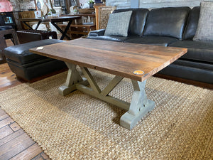 Coffee Table with X Style Trestle Base