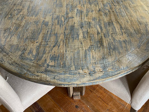 "60"" Round Dining Table Antique Blue Top"