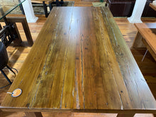 Load image into Gallery viewer, White Pine Multicolor Distressed Dining Table Straight Leg Base