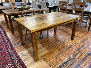 Rustic White Pine Dining Table Straight Leg Base