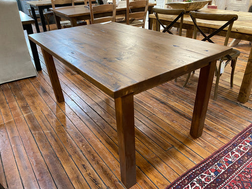 White Pine Dining Table with Straight Leg Base