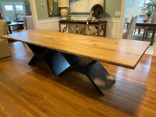 10' Oak Live Edge Dining Table Modern Base