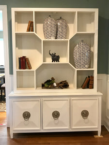 White Modern Cabinet with Open Shelving