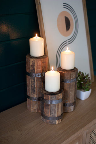 Set of 3 Recycled Wood and Metal Candle Towers