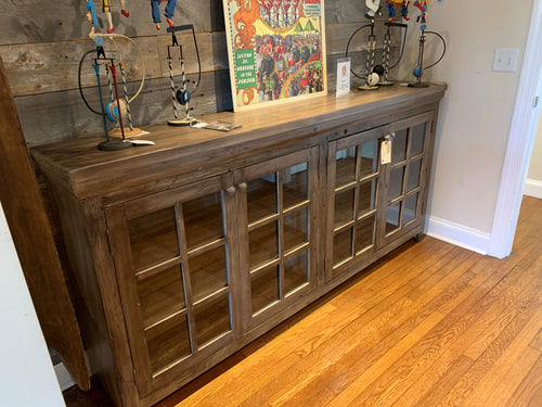 4 Door Glass Cabinet - Greystone Finish