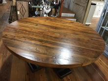 "Load image into Gallery viewer, 72"" round Queen Anne table made of heart pine with natural finish on tabletop and dark finish on base."