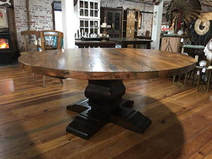 "72"" round Queen Anne table made of heart pine with natural finish on tabletop and dark finish on base."