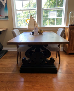 "72"" Oak Top Dining Table with Black Double S Shaped Base"