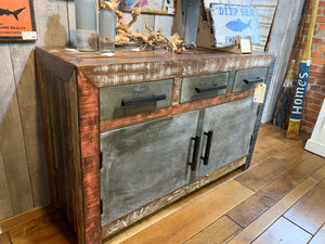 Wood and Metal Multipurpose Cabinet - Multicolor