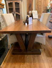"Load image into Gallery viewer, 72"" Georgia Heart Pine Dining Table with V base"