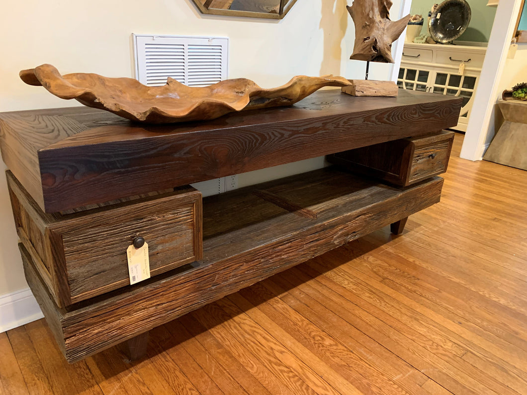 Mushroom Wood Console with 2 drawers