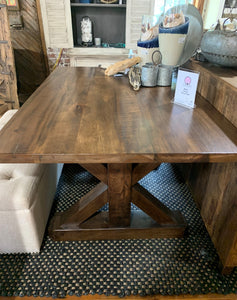 "60"" Maple Dining Table with Pine X-shaped Base"