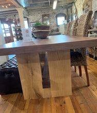 "Load image into Gallery viewer, Block Island Series 108"" Solid Walnut Dining Table with Solid Oak Block Base"