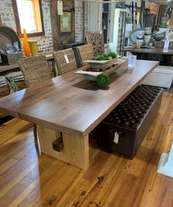 "Block Island Series 108"" Solid Walnut Dining Table with Solid Oak Block Base"