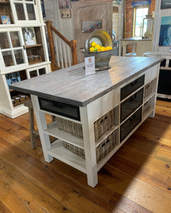 "72"" White/Gray Kitchen Island"