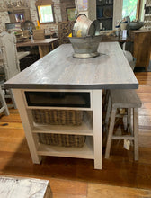 "Load image into Gallery viewer, 72"" White/Gray Kitchen Island"