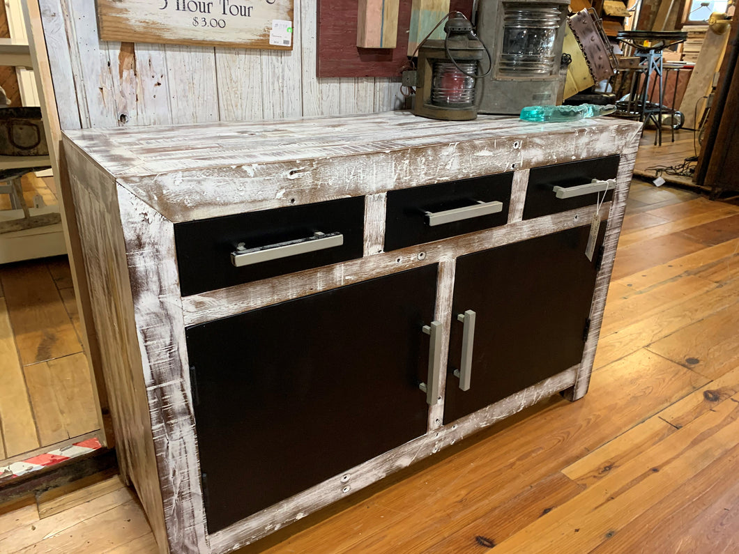 Wood and Metal Multipurpose Cabinet - Whitewashed