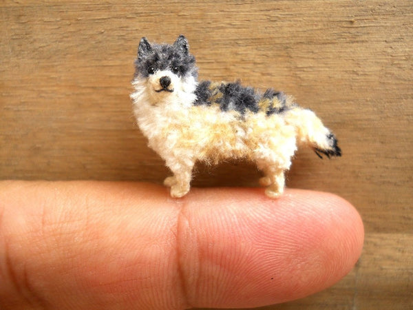 Miniature Crocheted Wolf
