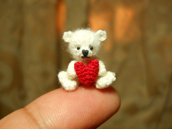 Mini White Bear Holding Heart