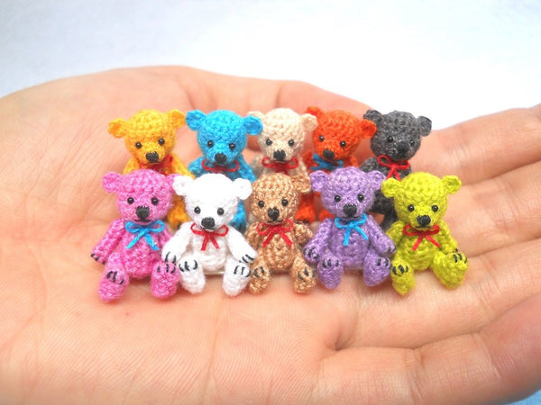 Micro Bear 1 Inch, Miniature Teddy Bear,  Amigurumi Crocheted Bear