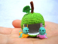 Miniature Worms and Apple,  Micro Crochet Valentine Worm Couple