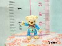 Cute Creme Bear Blue Dress Pink Bow