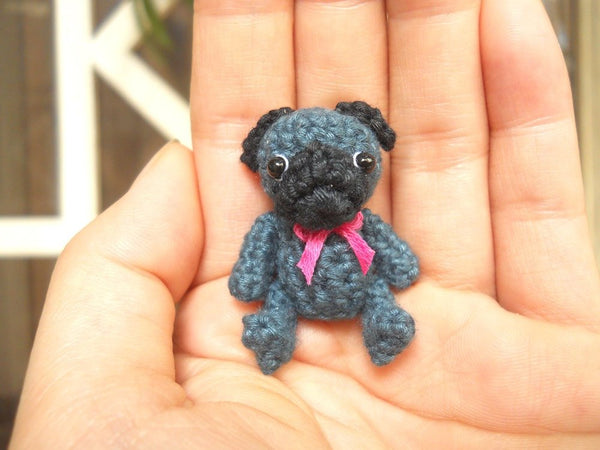 Mini Crochet Black Pug Dog
