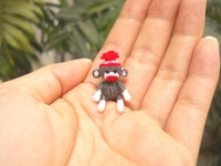 Sock Monkey 1 Inch Pom Pom Hat