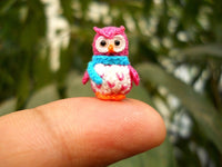 Pink Owl Blue Scarf