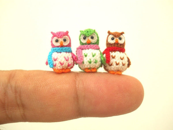 Three Micro Mini Owls