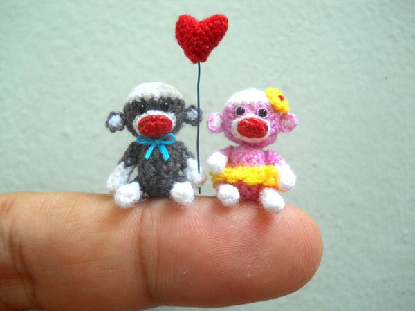 Sock Monkey Couple 1 Inch