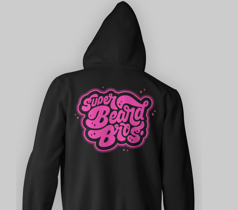 Super Beard Bros Logo Zip Up Hoodie- Pink
