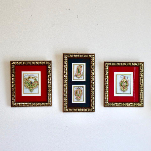 Handcrafted Jewelry Painting (Set of 3) - Wall Decor - 22K Gold Leaf Meenakari Marble Art - Home Decor - Crafts N Chisel