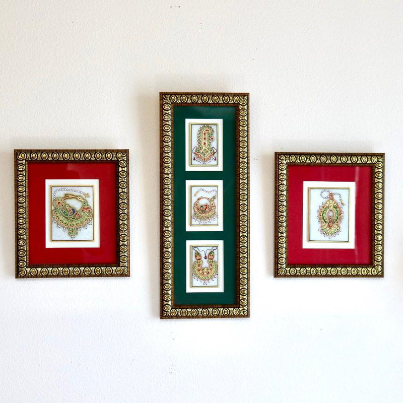 Handcrafted Jewelry Painting (Set of 3) - Wall Decor - 22K Gold Leaf Meenakari Marble Art crafts n chisel
