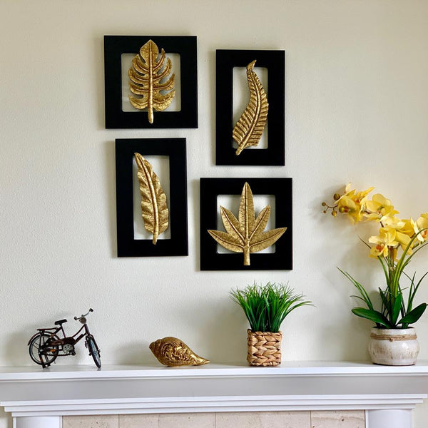 Brass Leaf Wall Hanging (Set of 4) - Wall Decor - crafts n chisel